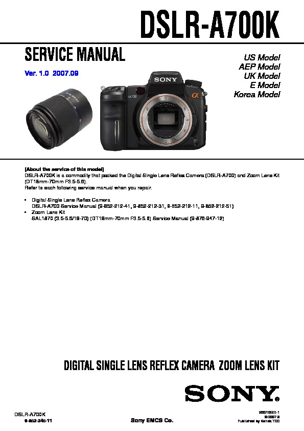 sony dslr a700k service manual view online or download repair manual rh servlib com Sony A900 sony alpha 700 service manual