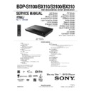 Sony BDP-BX110, BDP-BX310, BDP-S1100, BDP-S3100 Service Manual
