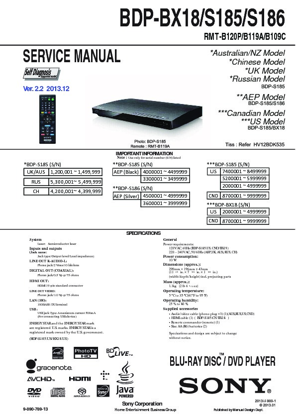 sony bdp bx18 bdp s185 bdp s186 serv man2 service manual view rh servlib com sony blu ray dvd player bdp-s185 manual sony blu-ray disc/dvd player bdp-s185 manual