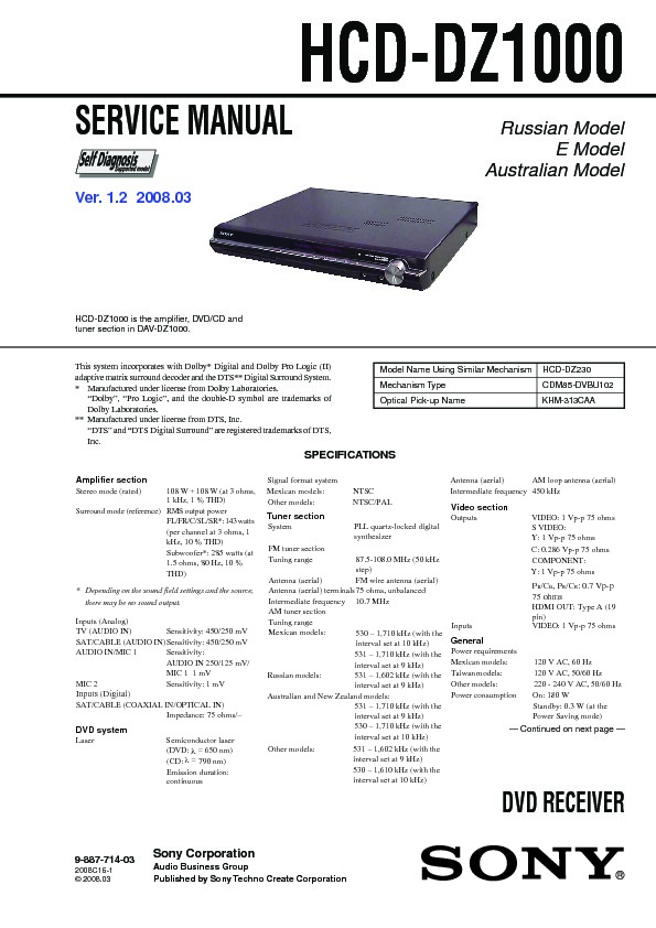 Sony Dav Dz1000 Hcd Dz1000 Service Manual View Online Or Download