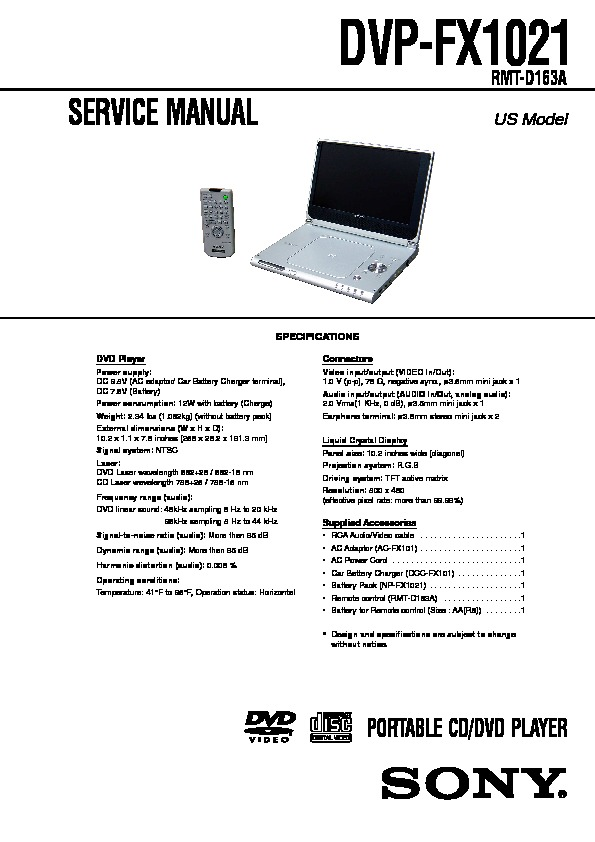 sony dvp fx1021 service manual view online or download repair manual rh servlib com DVD Player Instruction Manual DVD Player Cords