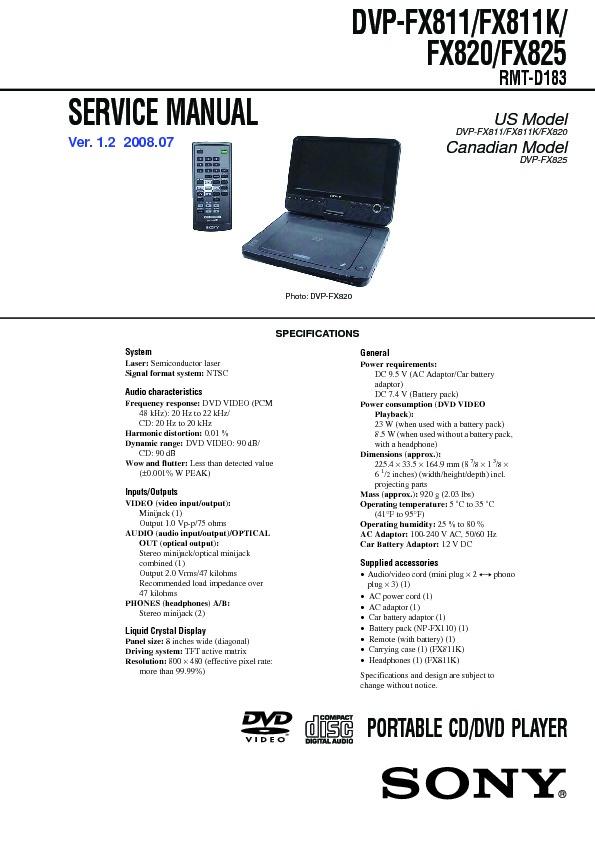 sony dvp fx811 dvp fx811k dvp fx820 dvp fx825 service manual rh servlib com DVD Player Instruction Manual DVD Player Cords