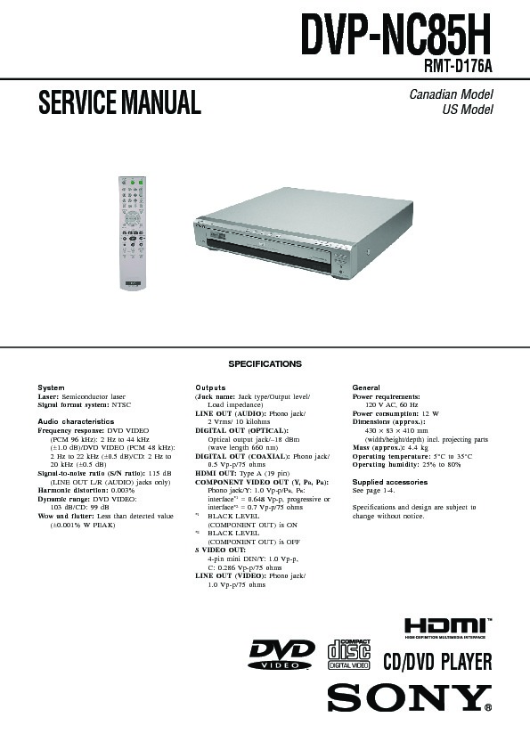 sony dvp nc85h ht 7000dh service manual view online or download rh servlib com sony dvp nc85h service manual Sony 5 Disc DVD Changer