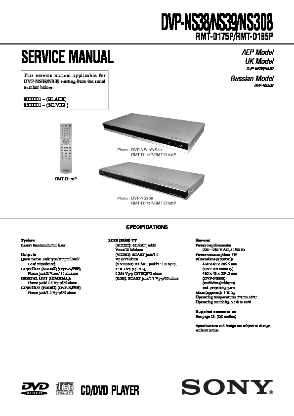 sony dvp ns308 dvp ns38 dvp ns39 service manual view online or rh servlib com Sony DVP Ns57p DVD Player Sony DVP Ns57p Manual