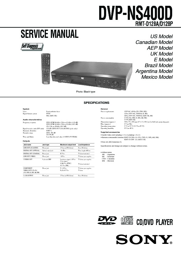 Sony Dvp Ns400d Service Manual View Online Or Download Repair Manual
