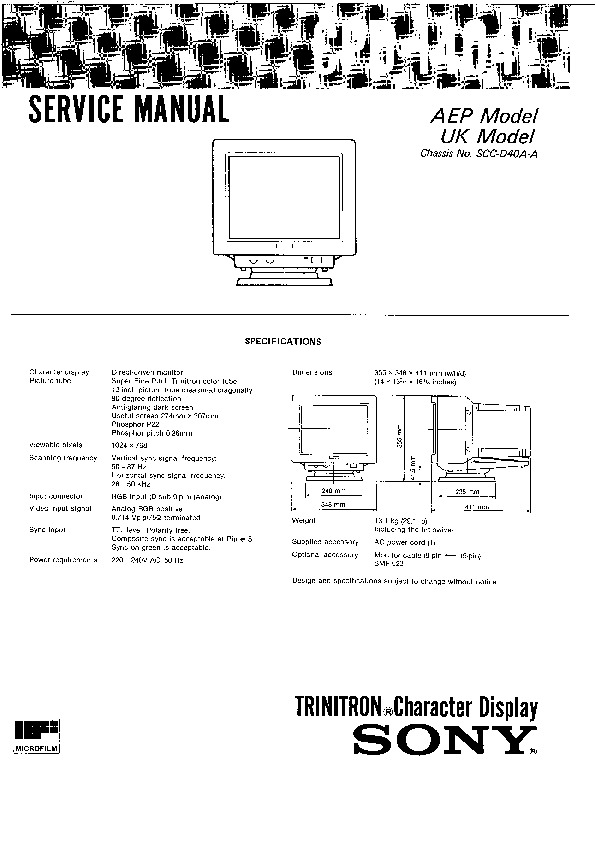 Sony Monitor Service Manuals And Schematics  U2014 Repair Information For Electronics Technicians