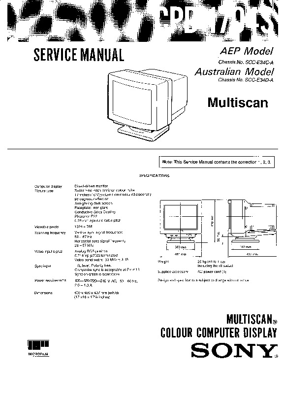sony monitor service manuals