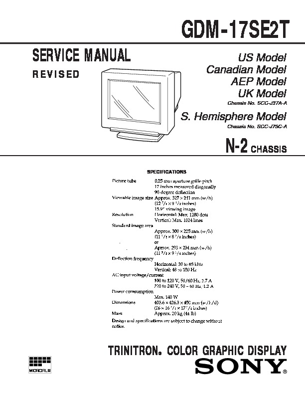 Sony gdm 17e21 service manual view online or download repair manual gdm 17e21 sony monitor service manual repair manual sciox Image collections