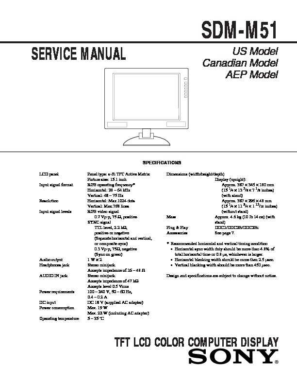 sony sdm m51 service manual view online or download repair manual rh servlib com Sony LCD Monitor Sony Studio Monitor Headphones