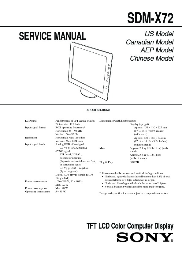 Sony SDM-X72 Service Manual — View online or Download repair ... on