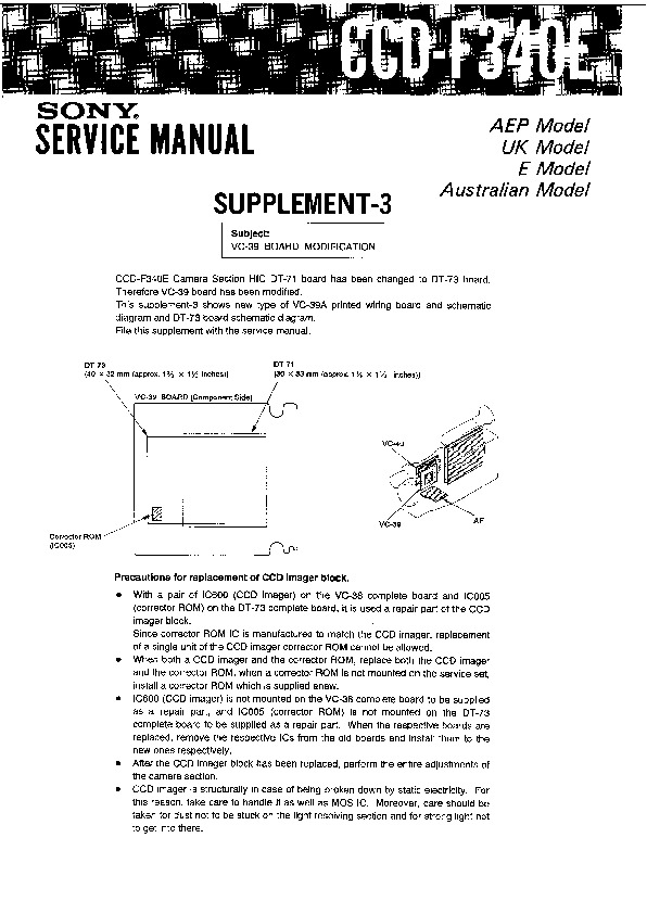 sony ccd f340e service manual view online or download repair manual rh servlib com Sony Stereo Wiring Colors xR6000 Sony Car Radio Wiring