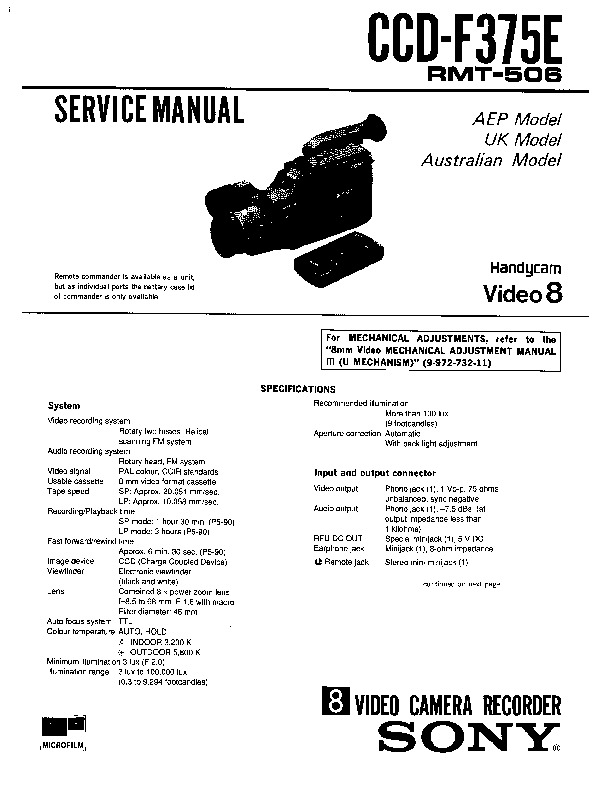 Sony Ccd F375e Service Manual View Online Or Download Repair Manual