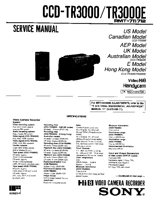 Sony ccd tr3000 ccd tr3000e service manual view online or ccd tr3000 ccd tr3000e service manual sciox Image collections