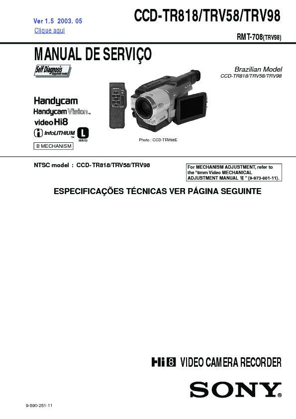 sony ccd tr818 ccd trv58 ccd trv98 service manual view online or rh servlib com Handycam Sony TRV57 sony handycam vision ccd-trv58 ntsc manual