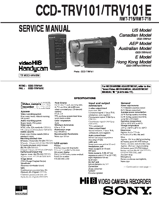 sony ccd trv101 ccd trv101e service manual view online or rh servlib com AE-1 Program Charger Ae1 vs AE-1 Program