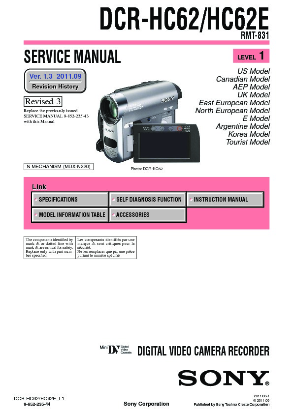sony dcr hc62 dcr hc62e serv man3 service manual view online or rh servlib com Sony Operating Manuals Sony DAV HDX576WF Manual