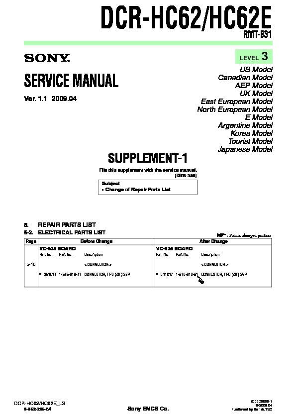 sony dcr hc62 dcr hc62e serv man8 service manual view online or rh servlib com sony dcr-hc62e software sony dcr-hc62e software