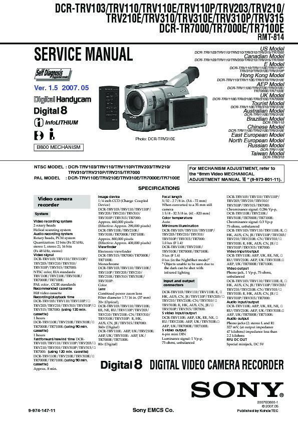 sony dcr tr7000 dcr tr7000e dcr tr7100e dcr trv103 dcr trv110 rh servlib com sony dcr-trv310 manual Sony 8Mm Camcorder