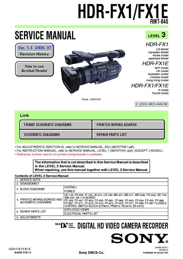 Sony hdr-fx1, hdr-fx1e, q002-hdr1 (serv. Man2) service manual.