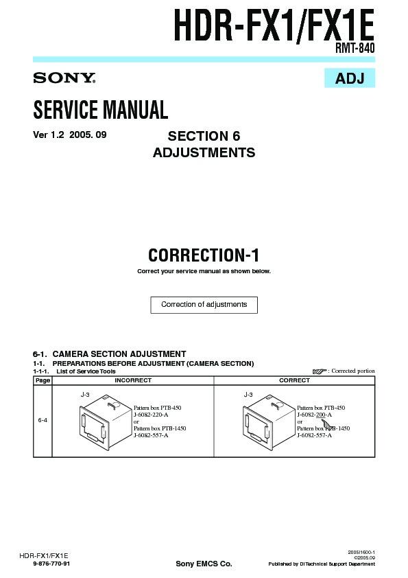 Sony hdr-fx1 + fx1e full service manual & repair manual pack.