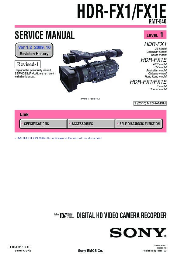 sony hdr fx1 hdr fx1e serv man2 service manual view online or rh servlib com Camcorder Sony FX 1 Sony Z7E