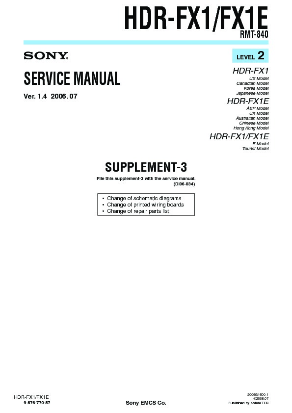 List of sony hdr-fx1e user manuals, operating instructions and.