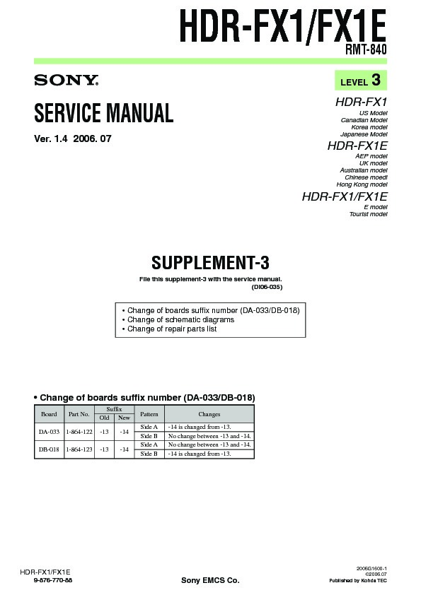Sony hdr-fx1, hdr-fx1e (serv. Man8) service manual — view online or.