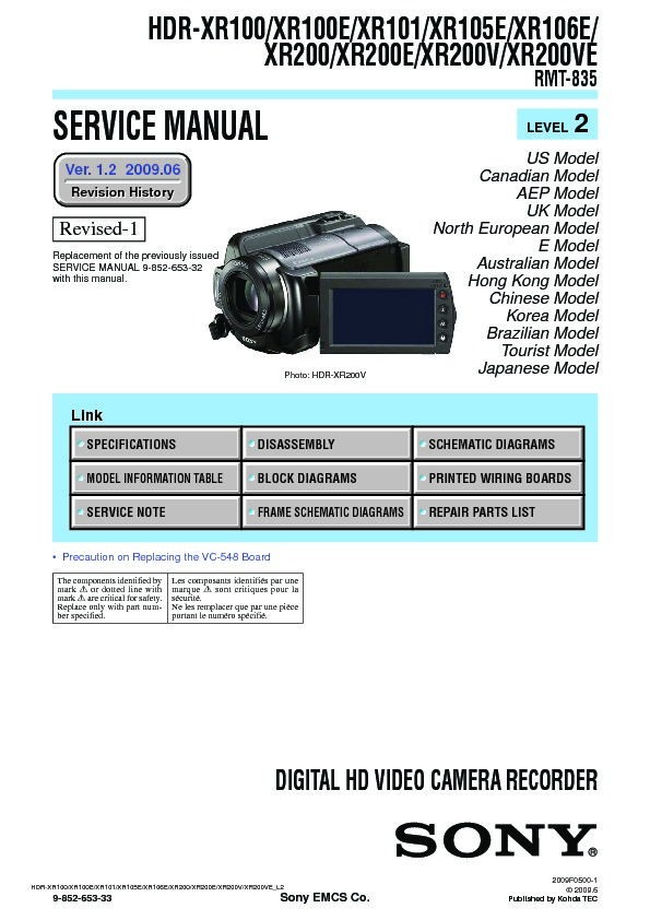 sony hdr xr100 hdr xr100e hdr xr101 hdr xr105e hdr xr106e hdr rh servlib com rx 100 service manual honda xr 100 service manual pdf