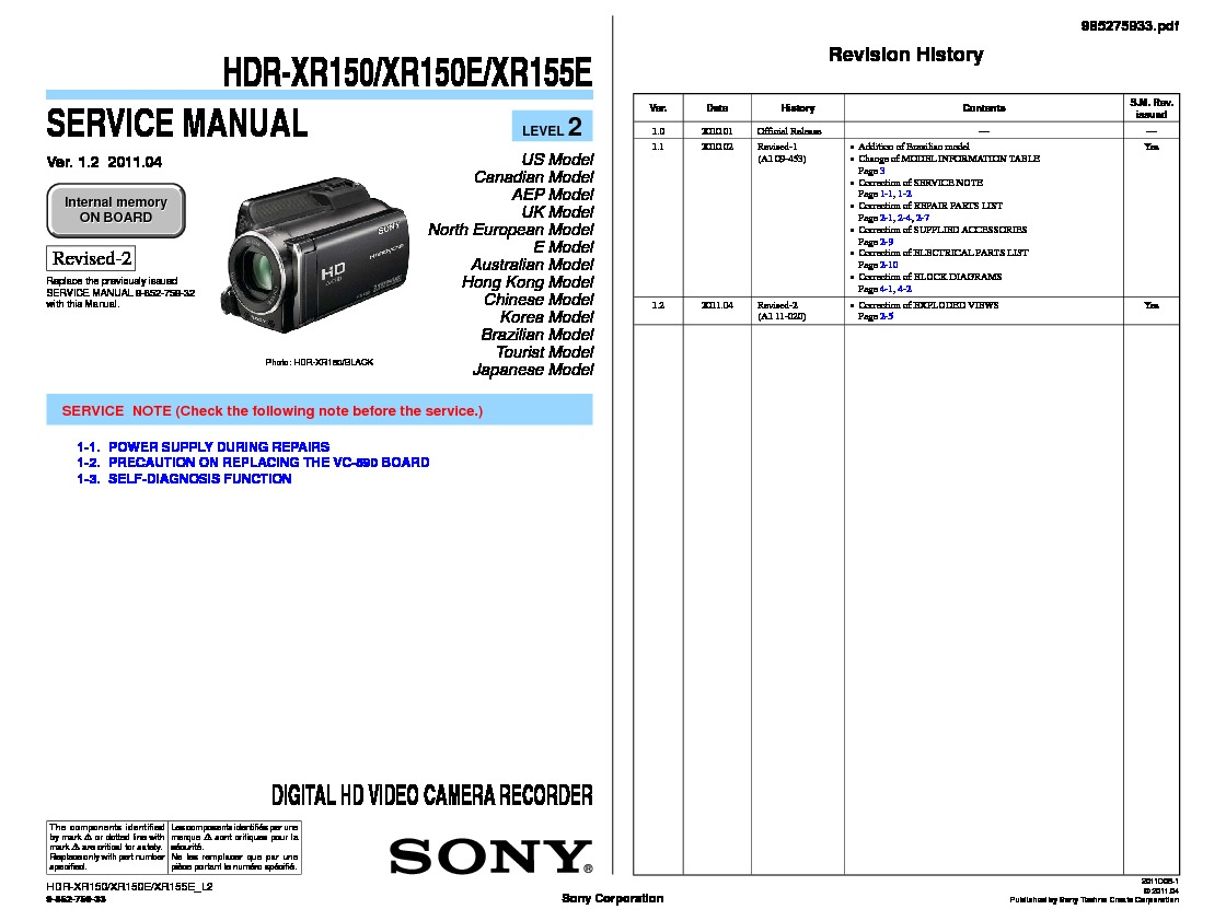 sony hdr xr150 hdr xr150e hdr xr155e serv man2 service manual rh servlib com hdr-xr150e manual sony handycam hdr-xr150 manual