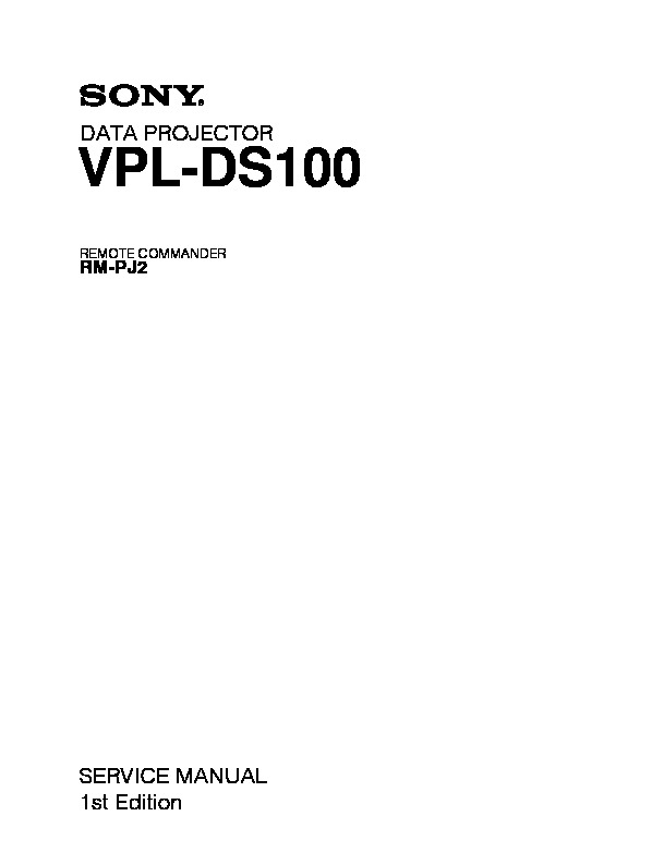 sony rm pj2 vpl ds100 service manual view online or download rh servlib com sony vpl-cs7 service manual projetor sony vpl cs7 manual
