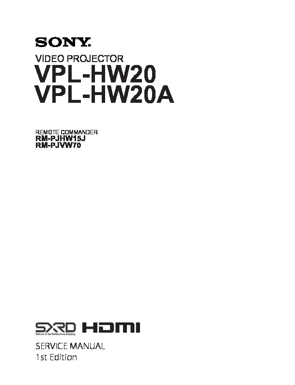 sony vpl hw20 vpl hw20a service manual view online or download rh servlib com sony data projector vpl-es4 service manual sony projector vpl - es4 service manual