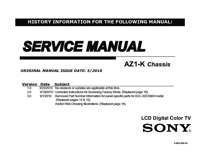 Sony KDL-32EX600, KDL-40EX600 Service Manual — View online or