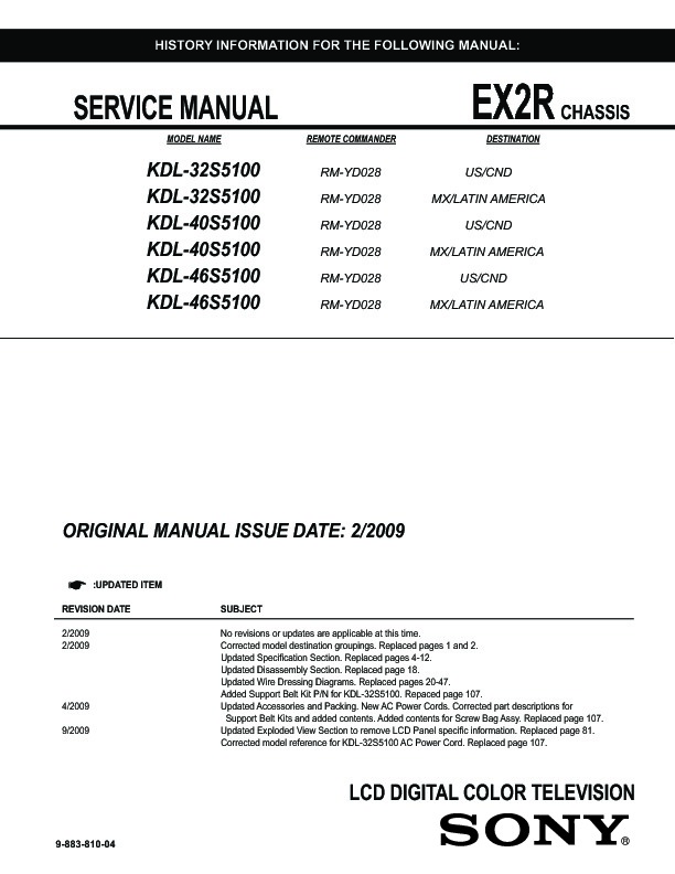 Sony Kdl 32s5100 Kdl 40s5100 Kdl 46s5100 Service Manual View Online Or Download Repair Manual