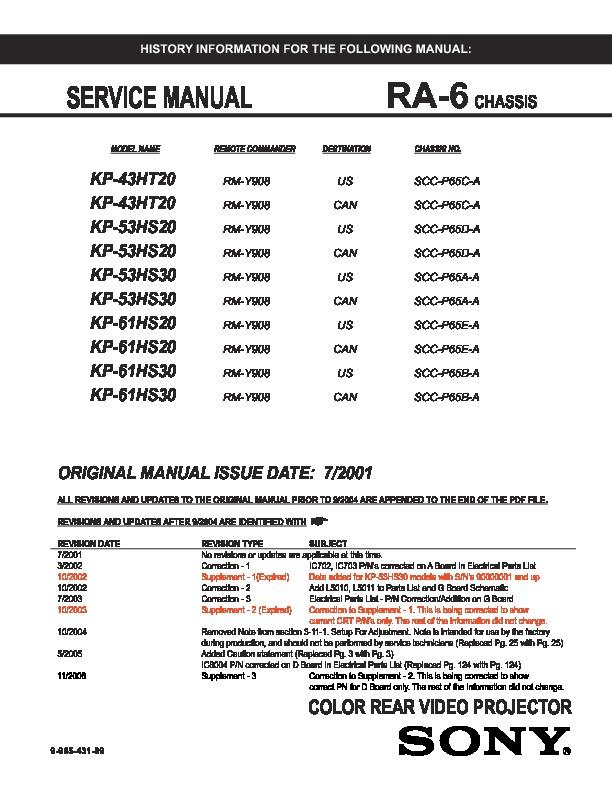 sony kp 43ht20 kp 53hs20 kp 53hs30 kp 61hs20 kp 61hs30 service rh servlib com Parts Manual Auto Repair Manual