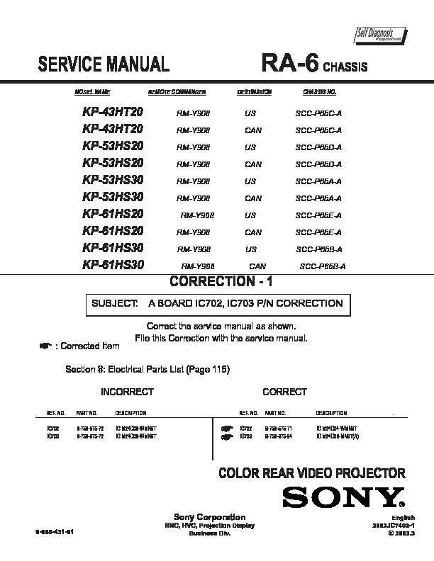 sony kp 43ht20 kp 53hs20 kp 53hs30 kp 61hs20 kp 61hs30 service rh servlib com Chilton Repair Manual Manual Book