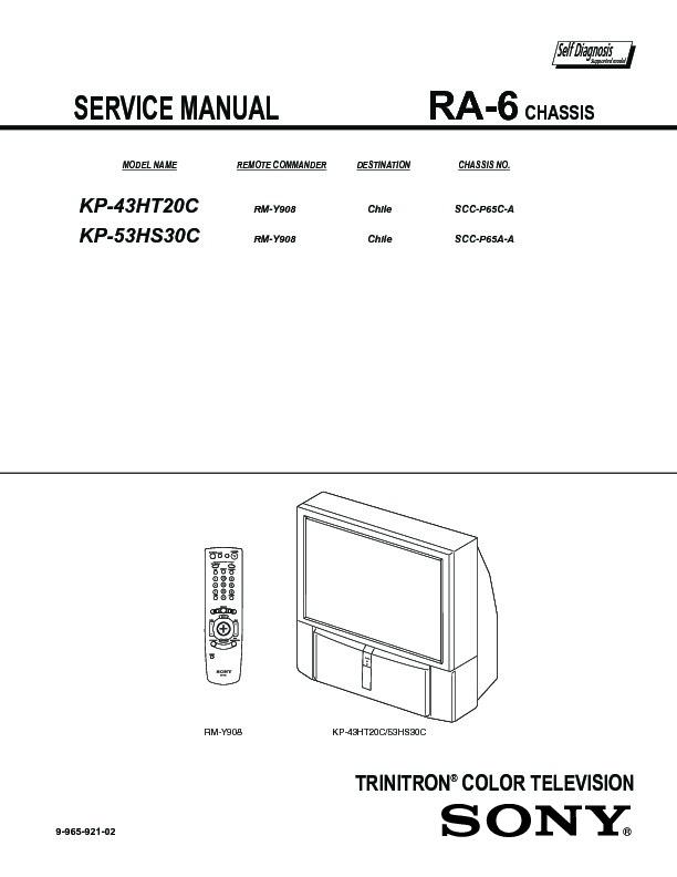 sony kp 43ht20 kp 53hs20 kp 53hs30 kp 61hs20 kp 61hs30 service rh servlib com Repair Manuals Owner's Manual