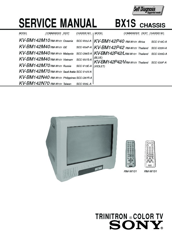 sony kv bm142m10 service manual view online or download repair manual rh servlib com sony trinitron kv-27xbr45 manual sony trinitron kv-21da75 manual