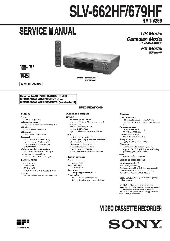 Sony Slv 662hf Slv 679hf Service Manual View Online Or Download Repair Manual