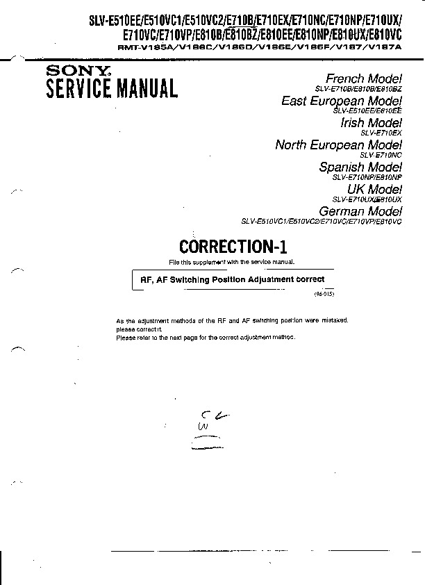 sony slv e510ee slv e510vc1 slv e510vc2 slv e710b slv e710ex rh servlib com Service Manual Schematic 41A5021-I Onan Service Manual Schematics