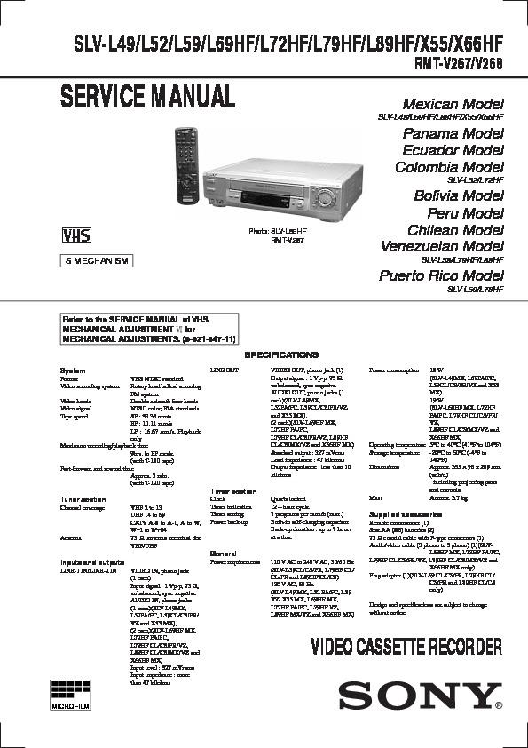 Sony Slv L49 Slv L52 Slv L59 Slv L69hf Slv L72hf Slv L79hf Slv L89hf Slv X55 Slv X66hf Service Manual View Online Or Download Repair Manual